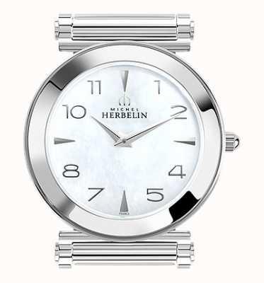 Michel Herbelin Antarès   cadran de montre en acier inoxydable uniquement   nacre H.17443/19