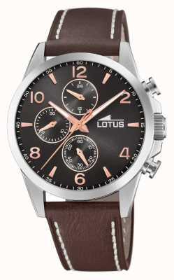 Lotus Bracelet en cuir marron pour homme   cadran de chronographe noir L18630/3