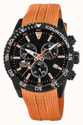 Lotus Bracelet en silicone orange pour homme   cadran de chronographe noir L18672/5