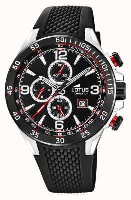 Lotus Bracelet en silicone noir pour homme   cadran de chronographe noir L18673/3