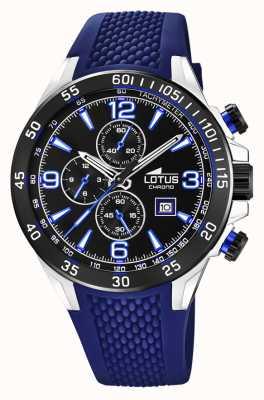 Lotus Bracelet en silicone bleu pour homme   cadran de chronographe noir L18673/8