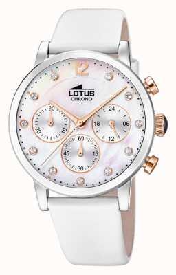 Lotus Bracelet en cuir blanc pour femme | cadran en nacre L18674/1