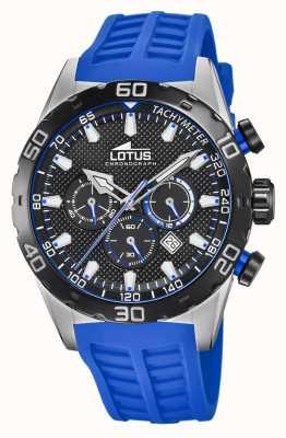 Lotus Couleur   bracelet en silicone bleu pour homme   cadran de chronographe noir L18677/4