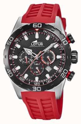 Lotus Couleur   bracelet en silicone rouge pour homme   cadran de chronographe noir L18677/6