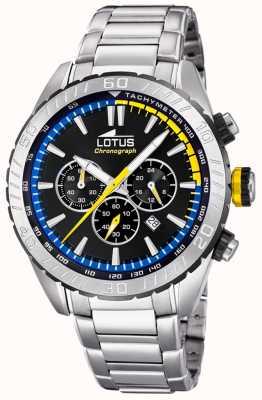 Lotus Bracelet homme en acier inoxydable | cadran de chronographe noir L18678/6