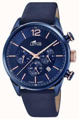 Lotus Bracelet en cuir bleu pour homme   cadran de chronographe bleu L18681/2