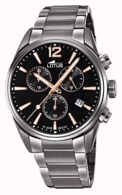 Lotus Bracelet homme en acier inoxydable | cadran de chronographe noir L18682/2