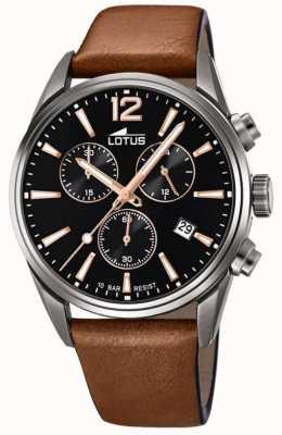 Lotus Bracelet en cuir marron pour homme   cadran de chronographe noir L18683/2