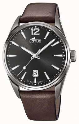 Lotus Bracelet en cuir marron pour homme   cadran noir L18685/1