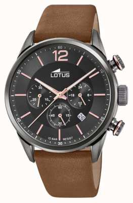 Lotus Bracelet en cuir marron pour homme   cadran de chronographe noir L18687/2