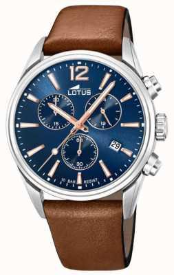 Lotus Bracelet en cuir marron pour homme | cadran de chronographe bleu L18691/2