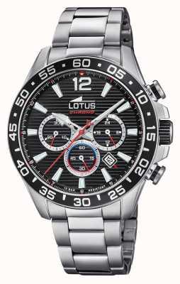 Lotus Bracelet homme en acier inoxydable | cadran de chronographe noir L18696/4