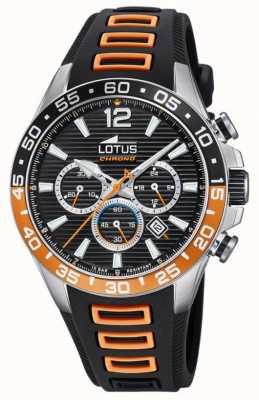 Lotus Bracelet en silicone noir / orange pour homme   cadran de chronographe noir L18697/1