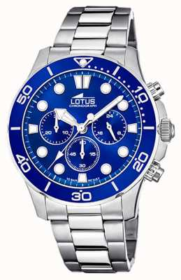 Lotus Bracelet homme en acier inoxydable | cadran de chronographe bleu L18756/1