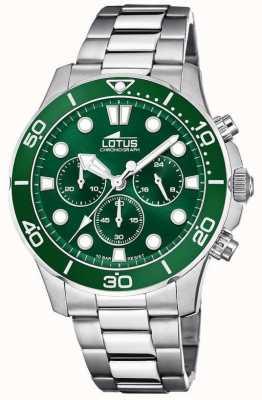 Lotus Bracelet homme en acier inoxydable | cadran de chronographe vert L18756/2