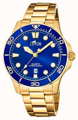 Lotus Bracelet homme en acier plaqué or   cadran bleu L18761/1