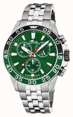 Lotus Bracelet homme en acier inoxydable   cadran vert   lunette verte / noire L18765/2