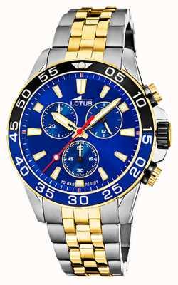 Lotus Bracelet homme en acier bicolore | cadran de chronographe bleu L18767/1