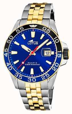 Lotus Bracelet homme en acier bicolore | cadran bleu L18768/1