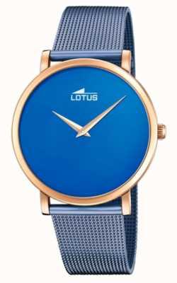 Lotus Bracelet femme en maille d'acier bleu | cadran bleu | boîtier en or rose L18773/2