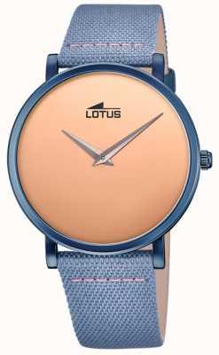 Lotus Bracelet en cuir bleu pour homme   cadran en or rose L18781/1