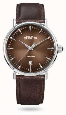 Michel Herbelin Inspiration automatique   bracelet en cuir marron pour homme   cadran marron 1647/AP27