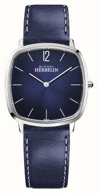 Michel Herbelin Ville   bracelet en cuir bleu pour homme   cadran bleu 16905/15BL