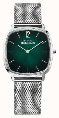 Michel Herbelin Ville   bracelet en maille d'acier pour homme   cadran vert 16905/16B
