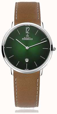 Michel Herbelin Ville   bracelet en cuir marron pour homme   cadran vert 19515/16NGO