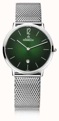 Michel Herbelin Ville   bracelet en maille d'acier pour homme   cadran vert 19515/16NB