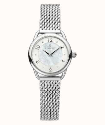 Michel Herbelin Equinoxe   bracelet en maille d'acier pour femme   cadran en nacre 17497/29B