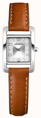 Michel Herbelin Vth avenue   bracelet en cuir marron   cadran argenté 17437/21GO