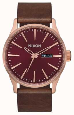 Nixon Cuir Sentry | or rose / bordeaux / marron | bracelet en cuir marron | A105-3211-00