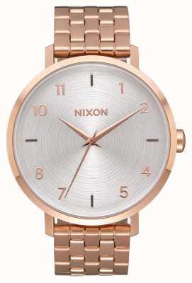 Nixon Flèche | tout or rose / blanc | bracelet en acier ip or rose | cadran argenté A1090-2640-00