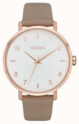 Nixon Cuir de flèche | or rose / gris | bracelet en cuir gris | cadran blanc A1091-2239-00