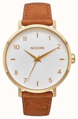 Nixon Cuir de flèche | or / blanc / selle | bracelet en cuir marron | cadran blanc A1091-2621-00