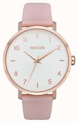 Nixon Cuir de flèche | or rose / rose clair | bracelet en cuir rose | cadran blanc A1091-3027-00