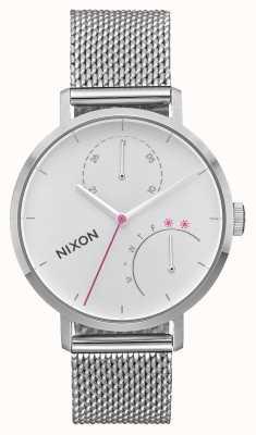 Nixon Embrayage | tout argent | maille en acier inoxydable | cadran blanc A1166-1920-00