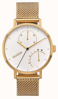 Nixon Embrayage | tout or / blanc | bracelet en maille ip or | cadran blanc A1166-504-00