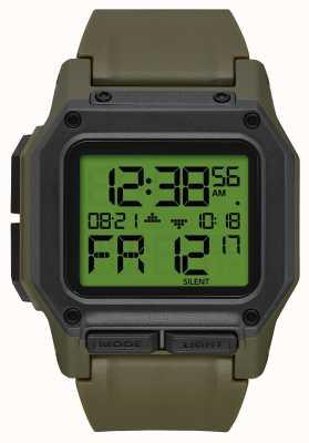 Nixon Regulus | surplus / carbone | numérique | bracelet en tpu vert A1180-3100-00