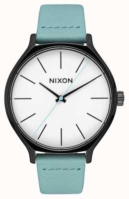Nixon Cuir de clique | noir / menthe | bracelet en cuir vert menthe | cadran blanc A1250-3317-00