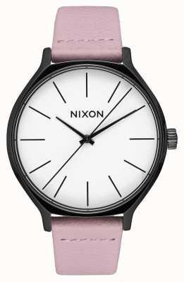 Nixon Cuir de clique | noir / corail | bracelet en cuir rose | cadran blanc A1250-3318-00