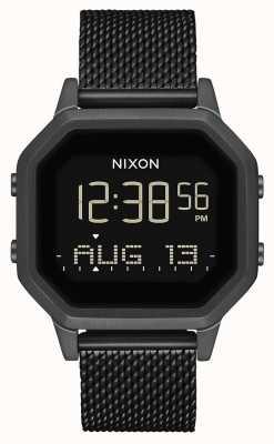 Nixon Siren milanese | tout noir | numérique | treillis en acier ip noir | A1272-001-00