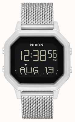 Nixon Siren milanese | tout argent | numérique | bracelet en maille d'acier inoxydable A1272-1920-00