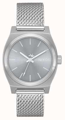 Nixon Guichet moyen milanais | tout argent | maille en acier inoxydable | cadran argenté A1290-1920-00