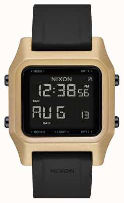 Nixon Agrafe | noir / or | numérique | bracelet en silicone noir A1309-010-00