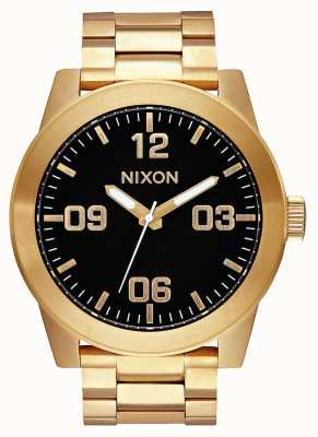 Nixon Caporal ss | tout or / noir | bracelet en acier ip or | cadran noir A346-510-00