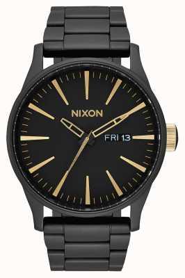 Nixon Sentry ss | noir mat / or | bracelet en acier ip noir | cadran noir A356-1041-00
