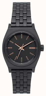 Nixon Petite caissière | tout noir / or rose | bracelet en acier ip noir | cadran noir A399-957-00