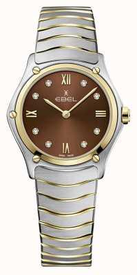 EBEL Classique du sport féminin | bracelet en acier inoxydable bicolore | cadran marron 1216445A